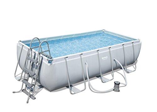 Bestway Frame Pool Power Steel, Set, hellgrau, rechteckig mit Filterpumpe, 404 x 201 x 100 cm, grau