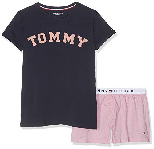 Tommy Hilfiger Mädchen SS Short Set Woven Zweiteiliger Schlafanzug Mehrfarbig (Navy Blazer/Rose Tan 021) 152 (Herstellergröße: 10-12)