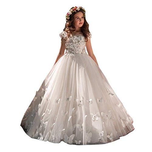 Vestidos de Flores para Bodas Vestido de Encaje de Flores para niñas Vestido de Flor Blanca Accesorios Mariposa