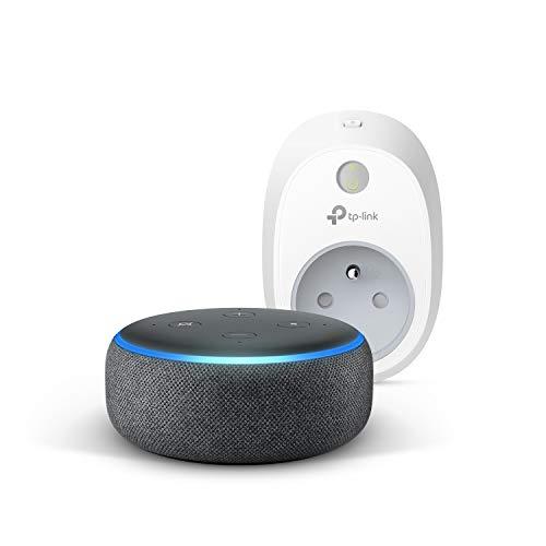 Echo Dot (3ème génération), Tissu anthracite + TP-Link HS100 Prise connectée Wi-Fi, Fonctionne avec Alexa