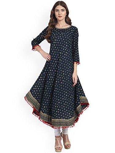 Amayra Womens Cotton Blue Printed Anarkali Kurti(Large,Blue)
