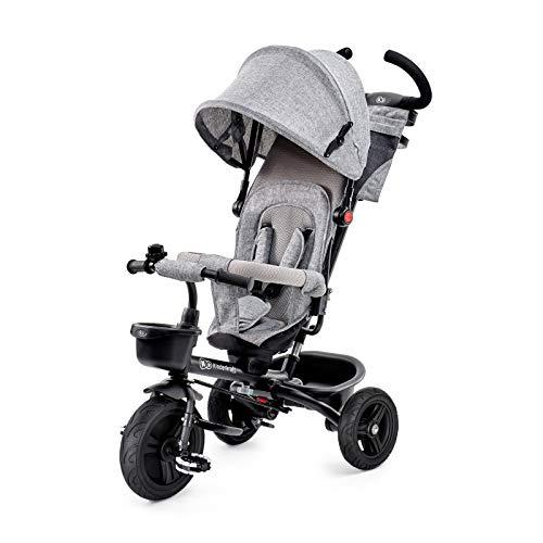 Kinderkraft Drairad für Kinder Baby AVEO 6in1 Kinderdreirad Jogger mit Zubehör Klappbar Dachfenster Lenker Gummiräder ab 9 Monate bis 5 Jahre Grau