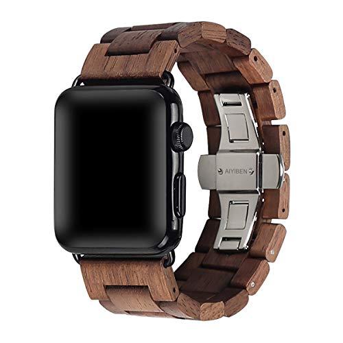 AIYIBEN Cinturino da orologio in legno 38mm/40mm con fibbia a farfalla in acciaio inox compatibile...