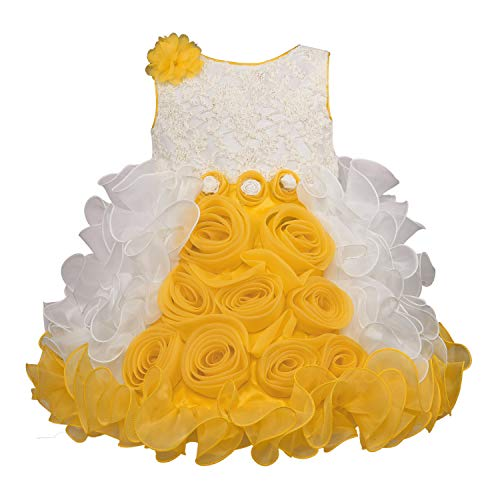 Wish Karo Baby Girl's Tissue Occasion Wear Frock Dress (Yellow, 12-18 Months)