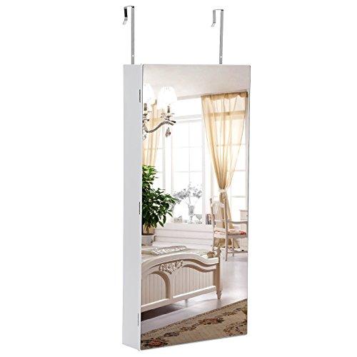 Songmics LED Hängend Schmuckschrank extra breiter Spiegel (Rahmenlose Spiegeltür) Türmontage/Wandmontage abschließbar weiß JBC102W - 2