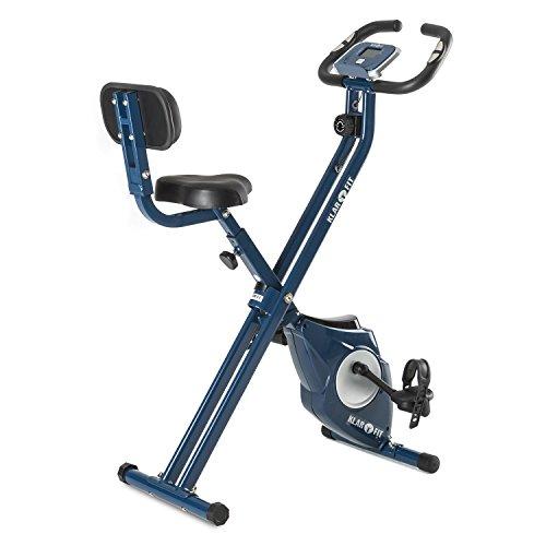 Klarfit Azura CF Bicicleta estática plegable (Pulsómetro, masa oscilante 3kg, respaldo, 8 niveles entrenamiento, monitor actividad fisica) - Azul