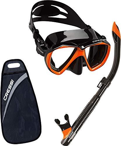 Cressi Ranger & Dry, Set Maschera per Snorkeling Unisex Adulto, Nero/Giallo, Taglia Unica