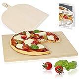Amazy Pizzastein inkl. Pizzaschaufel und Beileger - Der Ultra-hitzebeständige Brotbackstein verleiht Ihrer Pizza den original italienischen Geschmack knusprig-zarter Steinofenpizza (38 x 30 x 1,5 cm)