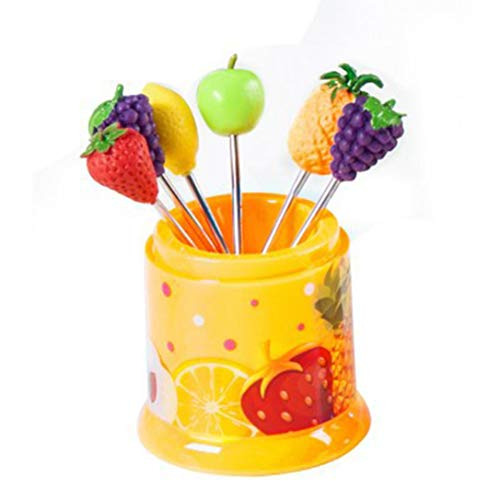 TAOtTAO 6pcs cucina creative cute Fruit Sign in acciaio INOX frutta forchetta forchetta frutta, D,...