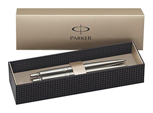 Parker Jotter Kugelschreiber und Druckbleistift, Edelstahl mit chromfarbenen Verzierungen, 2er-Set