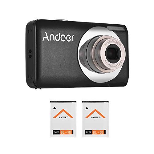 Tooarts Andoer 16MP 720P HD Digital Camera Video Camcorder with 2pcs Rechargeable Batteries 8X Optical & 4X Digital Zoom Anti-Shake 2.7inch LCD Screen Kids Christmas Gift