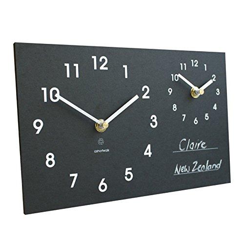 Orologio da parete, due fusi orari, con gesso, realizzato con materiale riciclato