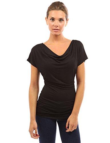 PattyBoutik Damen Wasserauschnitt Bluse mit Kurzen Ärmeln (schwarz M 40)