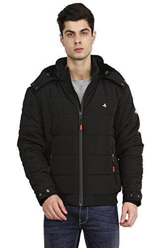 HIVER Men's Nylon Jacket 100% Water Proof Full-Sleeved Winter Jacket with Hood for Minus Degree (Black, Large)