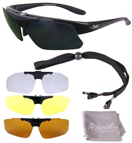 Rapid Eyewear Schwarz Rx Polarisierte Sportbrille Sehstärke mit Optikadapter und Wechselgläser x4. Brille für Radsport, Ski, Schießen, Laufen, usw. Optische Sonnenbrille Für Herren und Damen