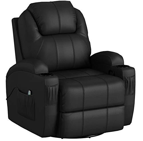 MCombo Modern Massage Recliner Chair Divano Vibrante riscaldato in Pelle PU Lounge ergonomico Nero...