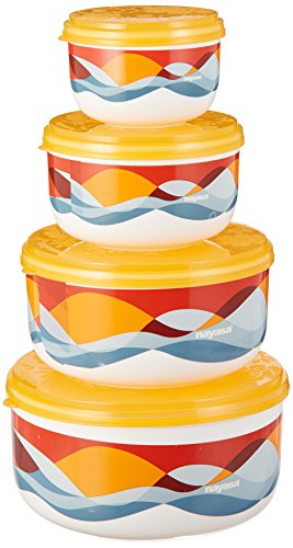 Nayasa Allora Plastic Container Set, 4-Pieces, Yellow