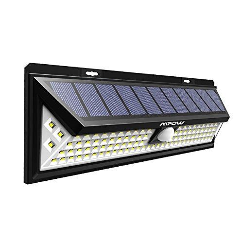 Mpow 102 LED Bewegungssensor Solarlicht, Helle Wandleuchte Solarleuchten, 3 Modi Sonnenkollektor 120...