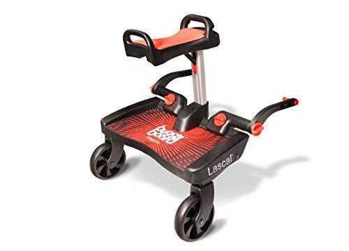 Lascal BB11031 Buggyboard Pedana Maxi Rossa con Sedile Rosso, Universale per Passeggino e Carrozzina