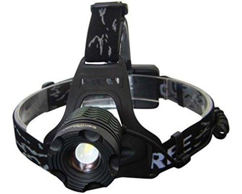 Six Foxes Hellste Cree LED Stirnlampe, Wiederaufladbare LED Kopflampe als Lauf Joggen, Laufen, Camping, Angeln oder Jagen Stirnlampen (Ein Komplett-Set mit 2 x 18650 Lithium-Ionen Akku, 1 Ladegerät)