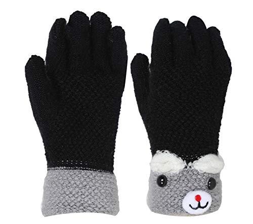 FabSeasons Girls' Acrylic Woollen Winter Gloves (Black, 5-8 Years)