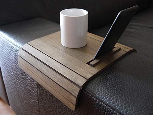 Piccolo tavolino laterale da bracciolo divano con supporto smartphone e ebook reader in molti colori come wenge Tavolini lato poltrona in legno Tavolo salvaspazio pieghevole per salotto moderno design