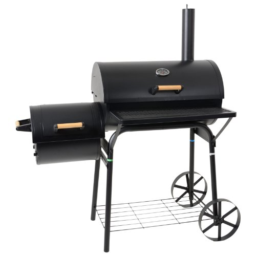 UK's top-rated smoker grill, the Azuma comes with a large barrel and offset smokebox for multitasking between barbecuing and smoking. With a built-in thermometer and air vents, temperature control is absolutely a breeze, whilst its wheeled design means you can move it to the shed without breaking a sweat. Quite expensive but really worth it.