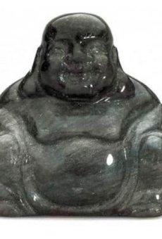 Obsidienne Bouddha semi-précieuses Pierre précieuse Pierre Décoration Maison Ornement AVN