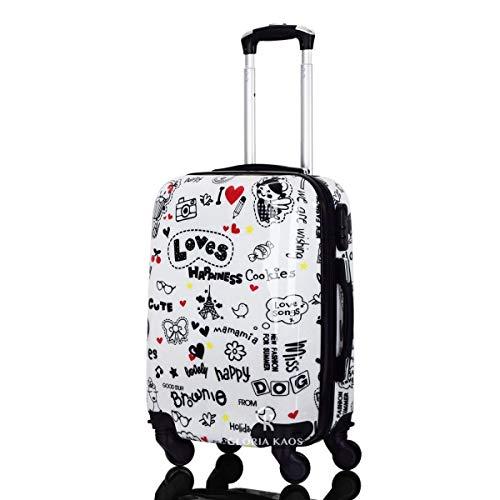 Trolley da cabina 50 cm valigia rigida 4 ruote in abs policarbonato stampato a fantasia impermeabile...
