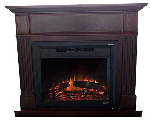 Flamex Freestanding Wood Finish Electric Fireplace Heater with Mantel MDF Veneer Paint (Walnut Dark Brown)