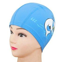 5Five Cuffia unisex per bambini, in tessuto traspirante, impermeabile, per piscina, nuoto, protezione per capelli e orecchi, in poliestere, motivo con delfino disegnato