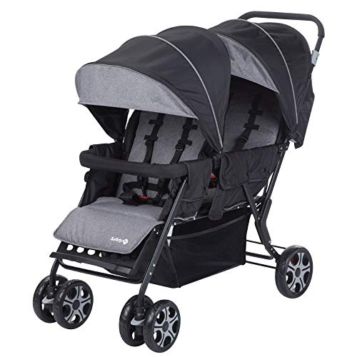 Safety 1St Teamy Passeggino Fratellare Gemellare Lineare, Reclinabile, con Parapioggia e Coprigambe, Black Chic
