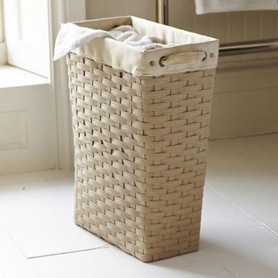 Extraschmaler Gewebter Wäschekorb, Polypropylen, 21 x 40,5 x 51cm H, 30 Liter