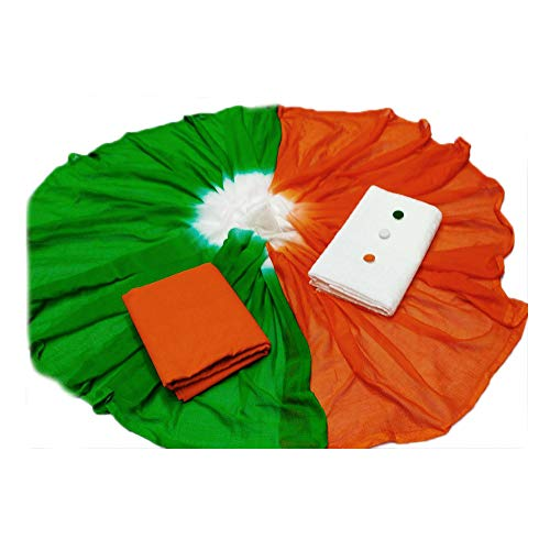 Roops Independence Day Special Women's Tiranga Chicken Cotton Unstitched Dress Material with Chiffon Tricolor Dupatta (RE_Tricolor_FreeSize)