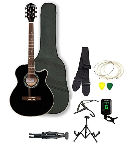 Kadence Frontier Series,Black Acoustic Guitar Super Combo Foldable Guitar Stand,Tuner,Capo,Bag,Strap,Strings And 3 Picks