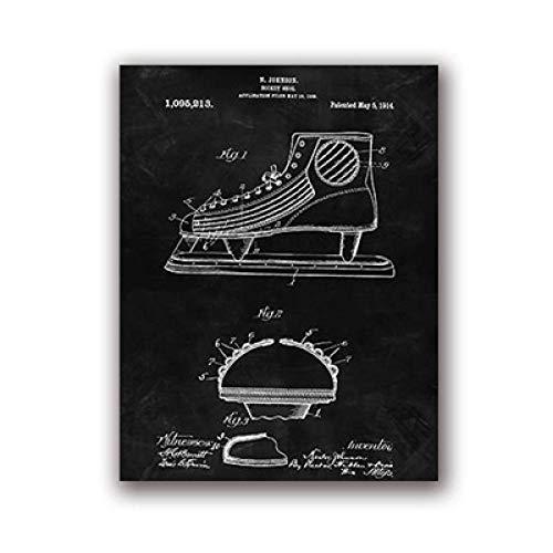 zxkx Poster per Lavagna di Brevetto per Hockey E Regalo per Hockey Sala da Sport Blu 30x40 cm Senza...