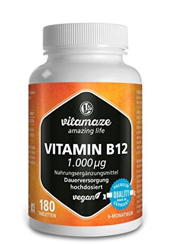 Vitamin B12 hochdosiert Methylcobalamin 1000 µg 180 Tabletten vegan 6 Monatsvorrat Qualitätsprodukt-Made-in-Germany ohne Magnesiumstearat!