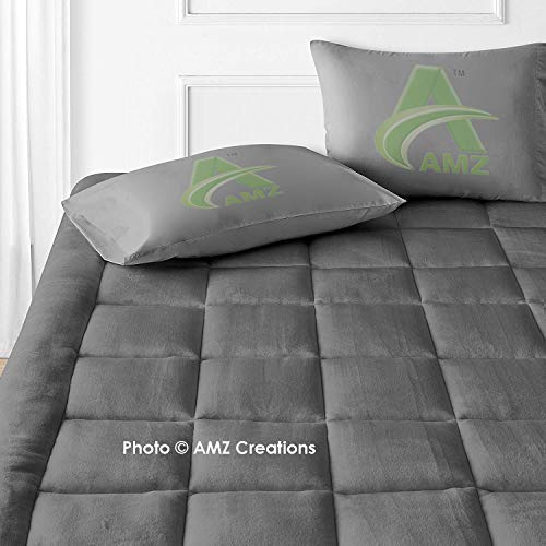 AMZ Super Soft 800 GSM Microfiber Fitted Style 2 Inch Thickness Mattress Padding/Topper for Comfortable Sleep (Set of 1) (60 x 75 Inches, Grey)