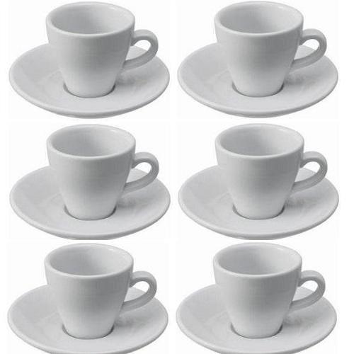 Viva-Haushaltswaren, Set di Tazzine da Caffe Espresso e Piatti, Porcellana, Bianca Gastro, 6 Unita