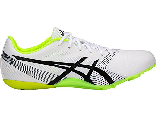 Asics Hypersprint 6 Men's Fast Running and Sprinting Shoes, White/Black/Safety Yellow - 12 US