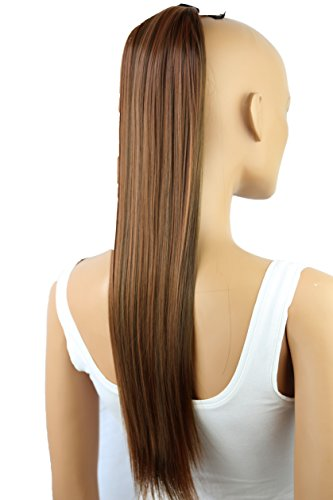 "PRETTYSHOP 60cm (24"") parrucca Clip In Extension coda di cavallo Pony Tail Lisci resistenti al calore effetto capelli naturali Diversi Colorei (marrone mix bionda 30H9 HC6)"