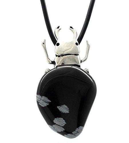 Escarabajo egipcio de estaño de Obsidiana piedra joyas - Collar con colgante (grande) de la declaración única