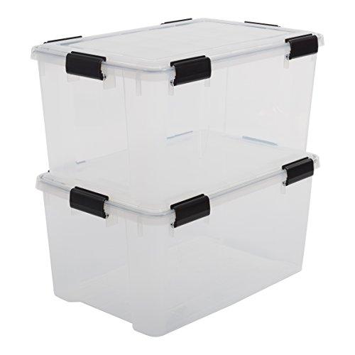 Iris Boxen All-Weather Box, 2er-Set, AT-L, für herausfordernde Lagerbedingungen, Plastik, transparent, 50 L, 59 x 39 x 29 cm