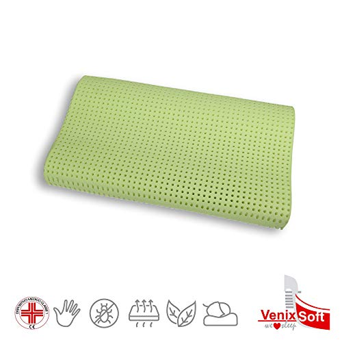 venixsoft Memory Foam Bed Pillow MAMMAL FOAM MAXIMUM BREATHING-Class 1 Medical Device CE-lympha Aloe Vera Marking, Anti Cervical, Cotton cover, Made in Italy