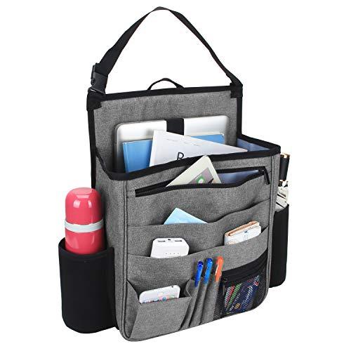 Luxja Auto Rücksitz Organizer, Autositz Organizer, Auto Aufbewahrung Rücksitz, Vordersitz Organizer mit Laptop und Tabletten-Lagerung, Grau