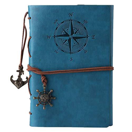 Maleden, diario di viaggio in pelle ad anelli, motivo bussola e ciondolo sul retro Sky Blue