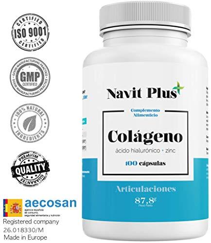 Collagene + Acido ialuronico + Vitamina C + Zinco. Ottimo per pelle, capelli articolazioni. 100 capsule. Trattamento per 50 giorni.
