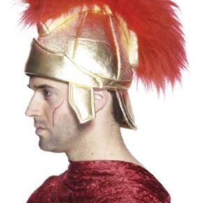 Smiffys-26939 Casco de Soldado Romano, con penacho, Color Oro, Tamaño único (Smiffy'S 26939)