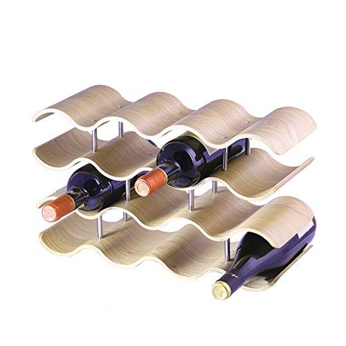 UNHO Wave Wine Rack 4Livello 14portabottiglie cantinetta Legno di bambù Wine Storage Rack for...