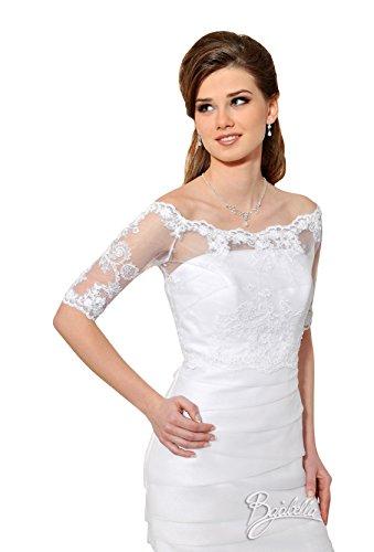 Bolero/Cape für Brautkleid/Hochzeit aus Tüll & Spitze - B108 (S/M, weiß)